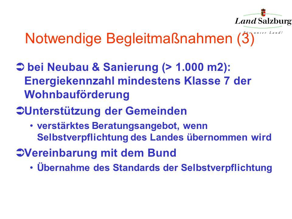 Notwendige Begleitmaßnahmen (3) bei Neubau & Sanierung (> 1.000 m2): Energiekennzahl mindestens Klasse 7 der Wohnbauförderung Unterstützung der Gemein