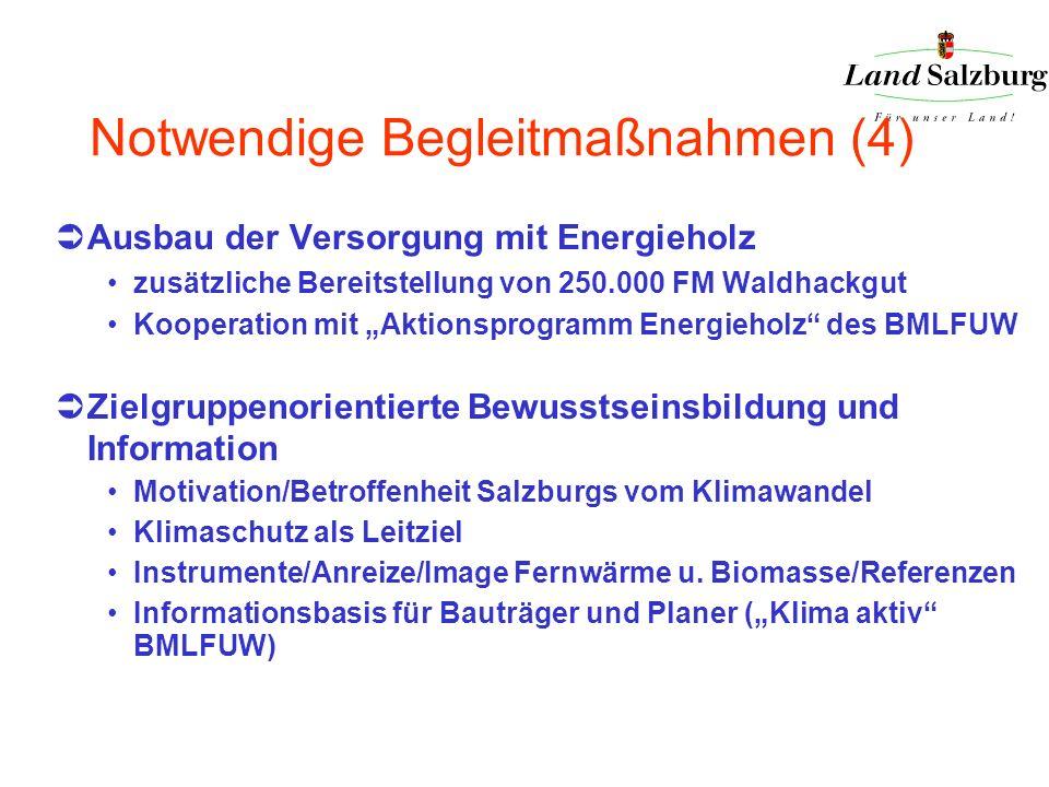 Notwendige Begleitmaßnahmen (4) Ausbau der Versorgung mit Energieholz zusätzliche Bereitstellung von 250.000 FM Waldhackgut Kooperation mit Aktionspro