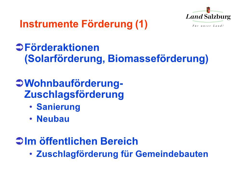 Instrumente Förderung (1) Förderaktionen (Solarförderung, Biomasseförderung) Wohnbauförderung- Zuschlagsförderung Sanierung Neubau Im öffentlichen Ber