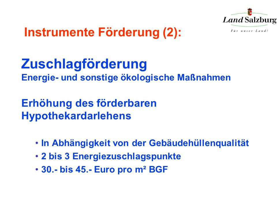 Instrumente Förderung (2): Zuschlagförderung Energie- und sonstige ökologische Maßnahmen Erhöhung des förderbaren Hypothekardarlehens In Abhängigkeit