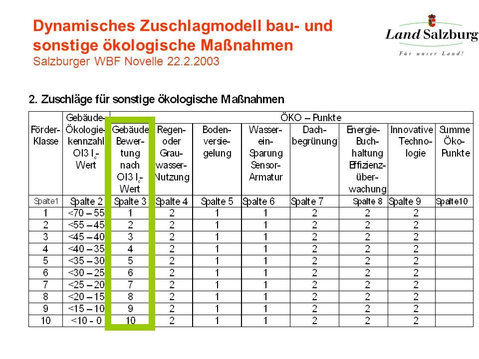 Dynamisches Zuschlagmodell bau- und sonstige ökologische Maßnahmen Salzburger WBF Novelle 22.2.2003