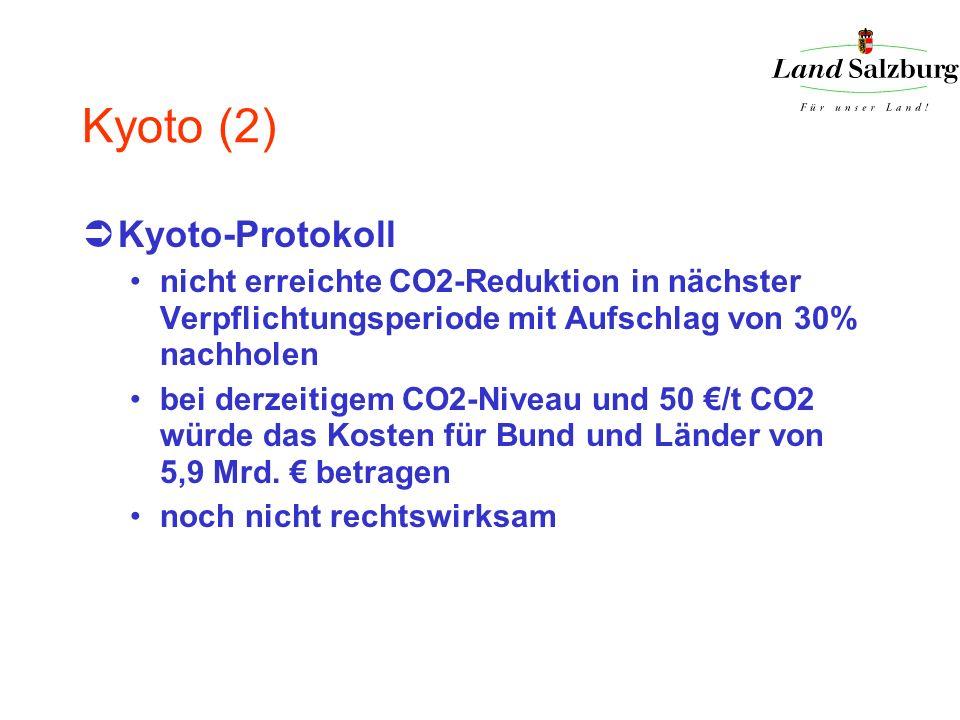 Kyoto (2) Kyoto-Protokoll nicht erreichte CO2-Reduktion in nächster Verpflichtungsperiode mit Aufschlag von 30% nachholen bei derzeitigem CO2-Niveau u