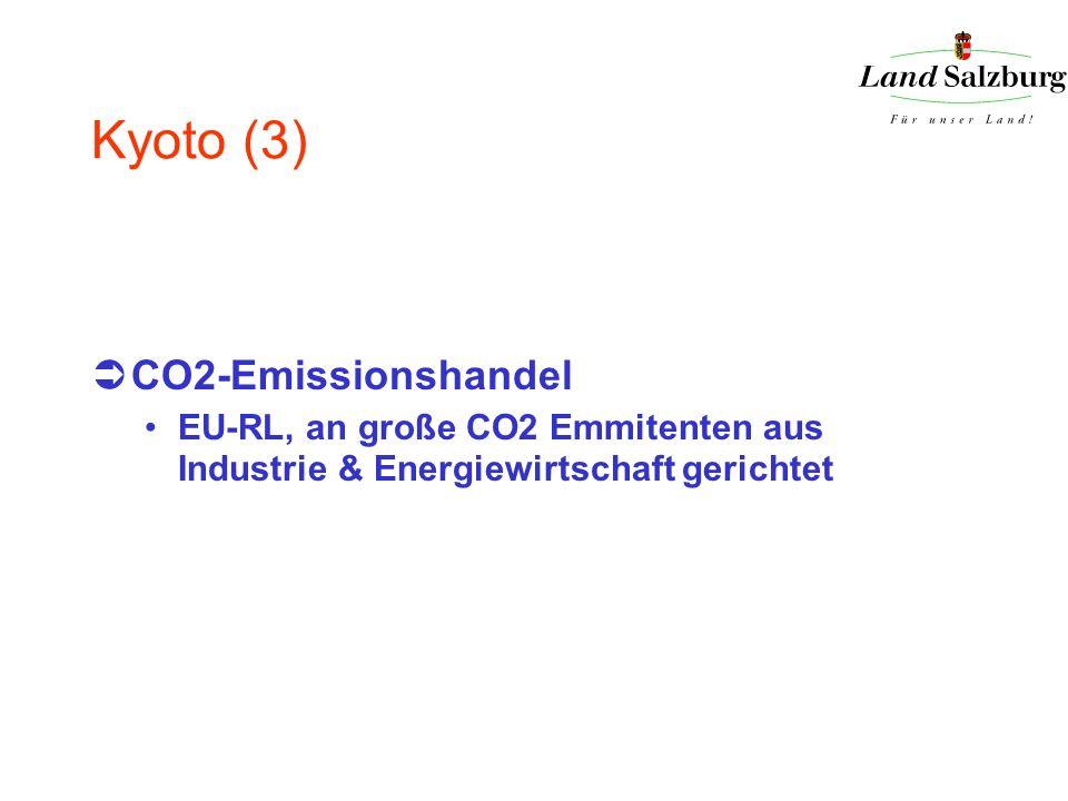 Kyoto (3) CO2-Emissionshandel EU-RL, an große CO2 Emmitenten aus Industrie & Energiewirtschaft gerichtet