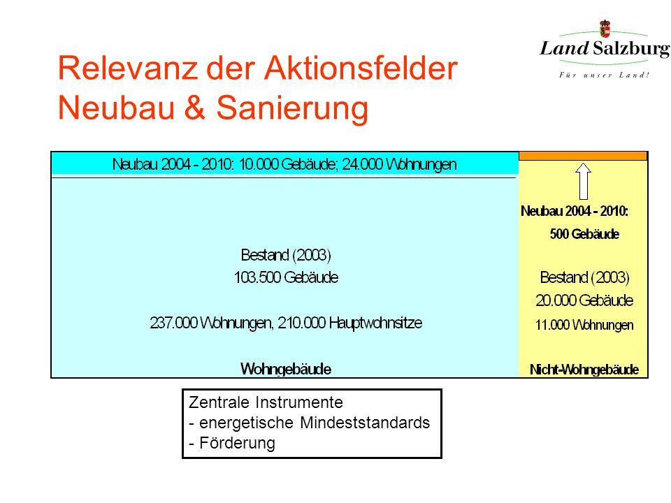 Relevanz der Aktionsfelder Neubau & Sanierung Zentrale Instrumente - energetische Mindeststandards - Förderung