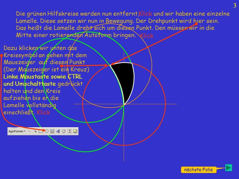 4 nächste Folie Den Kreis nun noch ohne Rand machen; Kreis und Lamelle Gruppieren.