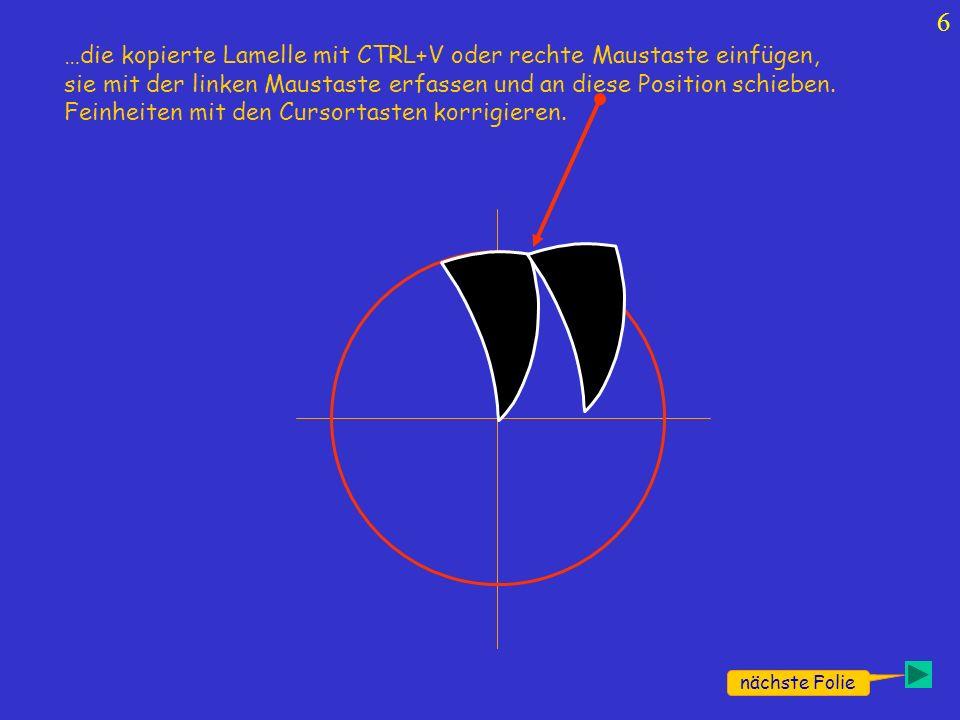 7 nächste Folie A wer will kann hier schon mal Testen Die markierte Lamelle mit der linken Maustaste an dem grünen Punkt fassen und die Lamellenspitze auf den Kreismittelpunkt drehen.