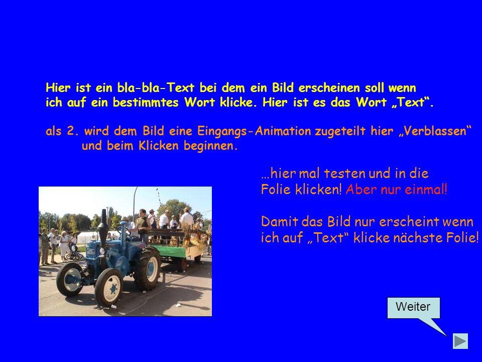 Weiter Hier ist ein bla-bla-Text bei dem ein Bild erscheinen soll wenn ich auf ein bestimmtes Wort klicke.