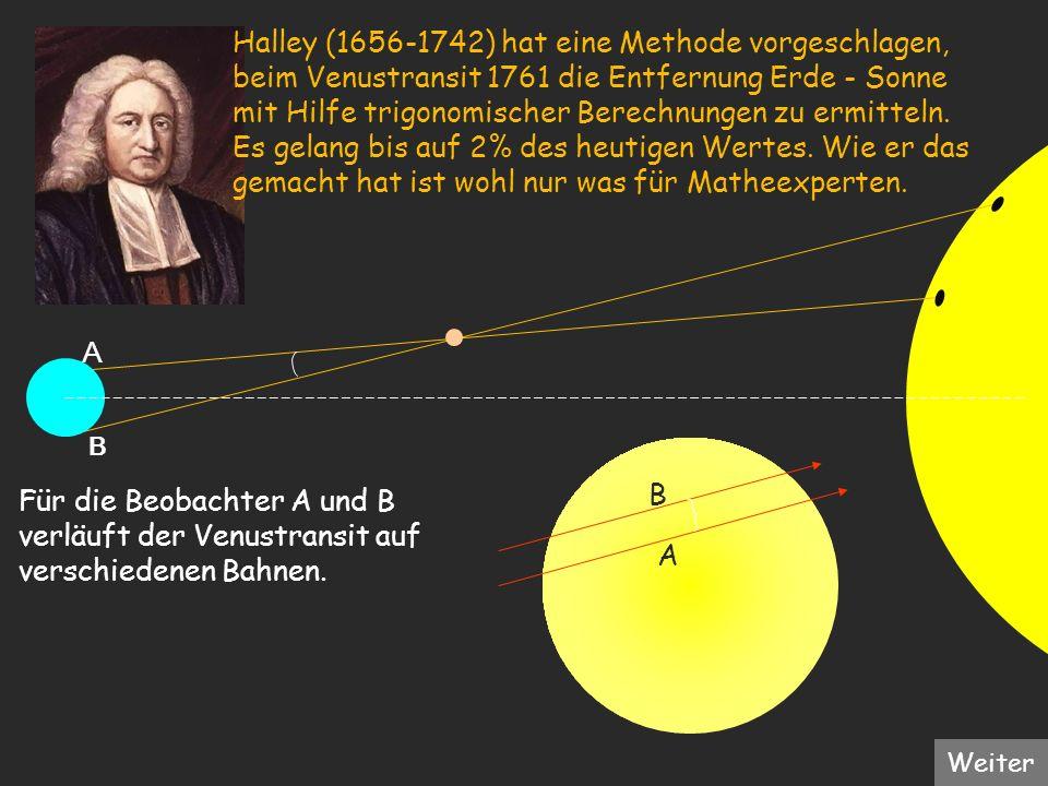 A A B Für die Beobachter A und B verläuft der Venustransit auf verschiedenen Bahnen. B Halley (1656-1742) hat eine Methode vorgeschlagen, beim Venustr