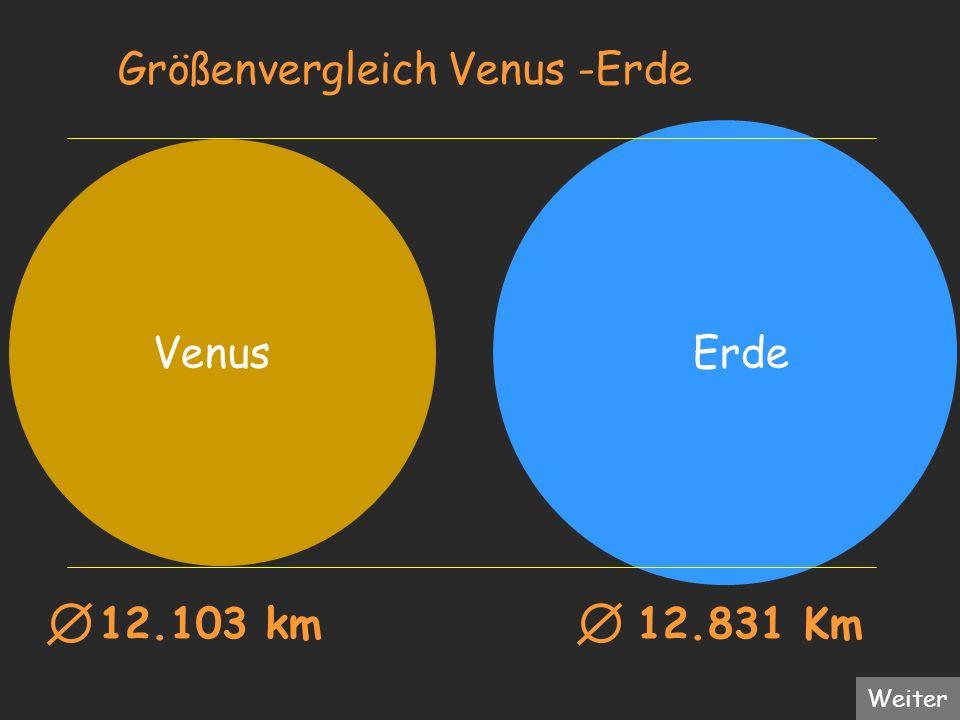 Größenvergleich Venus -Erde Venus Erde 12.103 km 12.831 Km Weiter