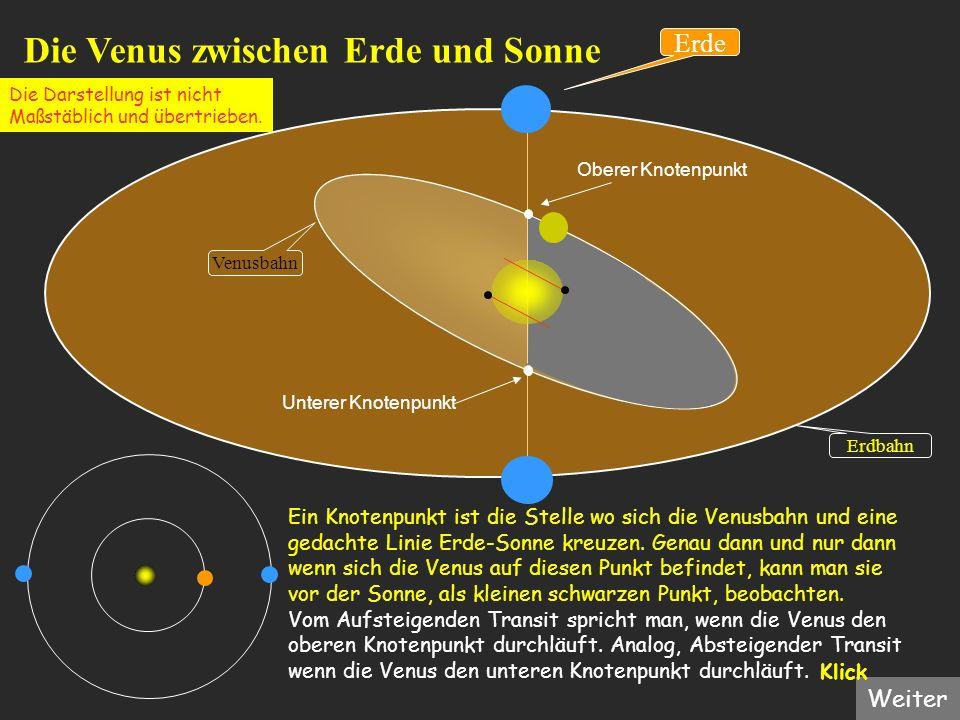 Oberer Knotenpunkt Die Venus zwischen Erde und Sonne Erdbahn Venusbahn Erde Ein Knotenpunkt ist die Stelle wo sich die Venusbahn und eine gedachte Lin