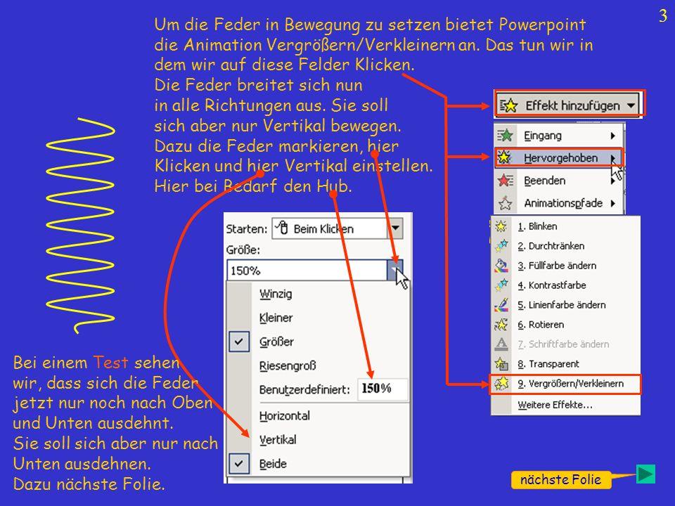 3 Um die Feder in Bewegung zu setzen bietet Powerpoint die Animation Vergrößern/Verkleinern an. Das tun wir in dem wir auf diese Felder Klicken. Die F
