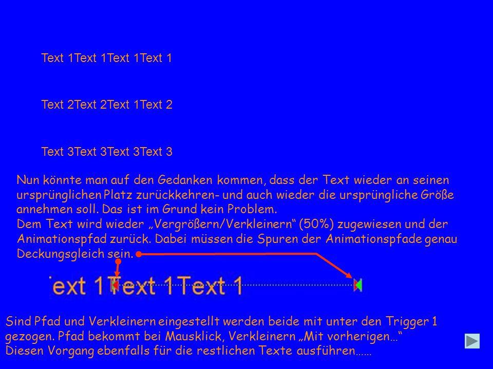 Text 1Text 1Text 1Text 1 Text 2Text 2Text 1Text 2 Text 3Text 3Text 3Text 3 Nun könnte man auf den Gedanken kommen, dass der Text wieder an seinen ursprünglichen Platz zurückkehren- und auch wieder die ursprüngliche Größe annehmen soll.