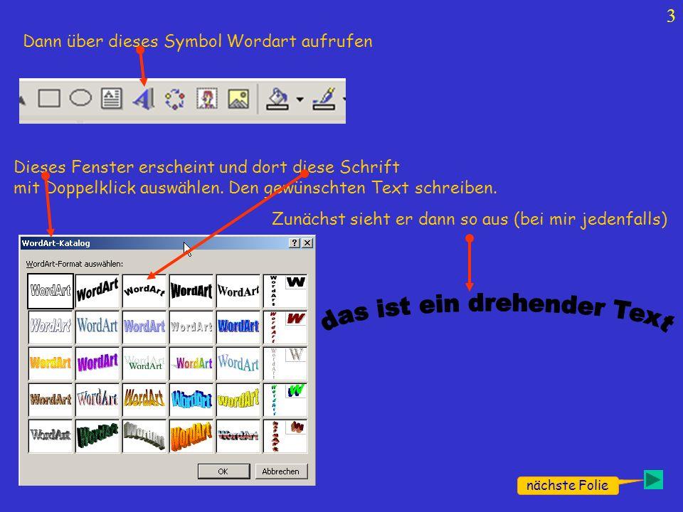 3 Dann über dieses Symbol Wordart aufrufen Dieses Fenster erscheint und dort diese Schrift mit Doppelklick auswählen. Den gewünschten Text schreiben.