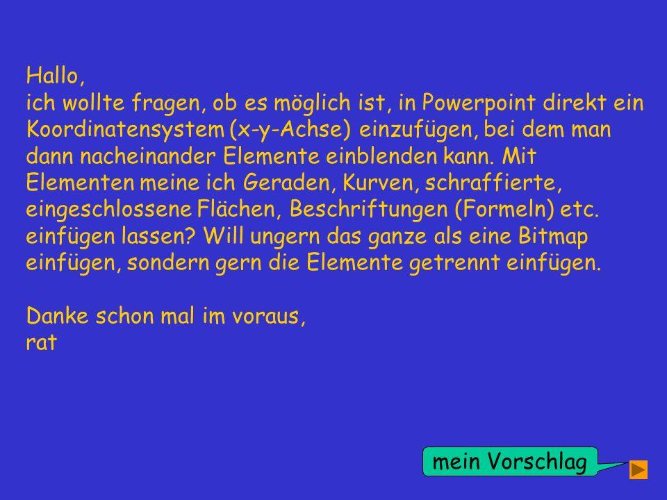 Hallo, ich wollte fragen, ob es möglich ist, in Powerpoint direkt ein Koordinatensystem (x-y-Achse) einzufügen, bei dem man dann nacheinander Elemente