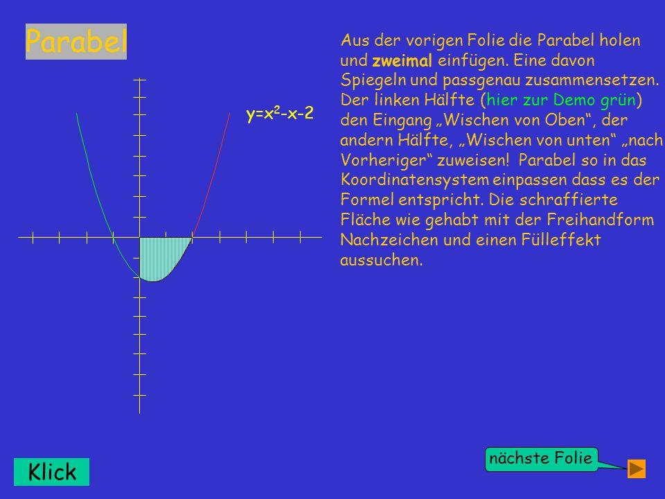 Klick y=x 2 -x-2 nächste Folie Aus der vorigen Folie die Parabel holen und zweimal einfügen. Eine davon Spiegeln und passgenau zusammensetzen. Der lin