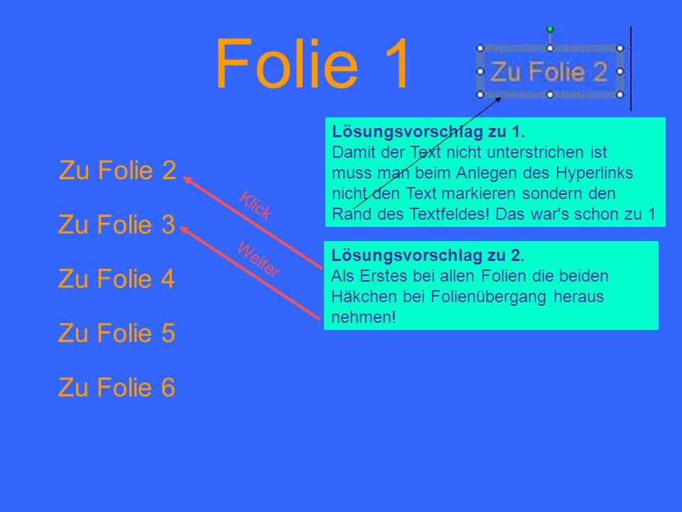 Folie 1 Zu Folie 2 Zu Folie 3 Zu Folie 4 Zu Folie 5 Zu Folie 6 Lösungsvorschlag zu 1. Damit der Text nicht unterstrichen ist muss man beim Anlegen des