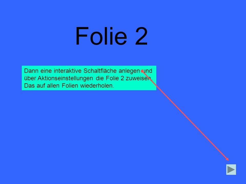 Folie 2 Dann eine interaktive Schaltfläche anlegen und über Aktionseinstellungen die Folie 2 zuweisen. Das auf allen Folien wiederholen.