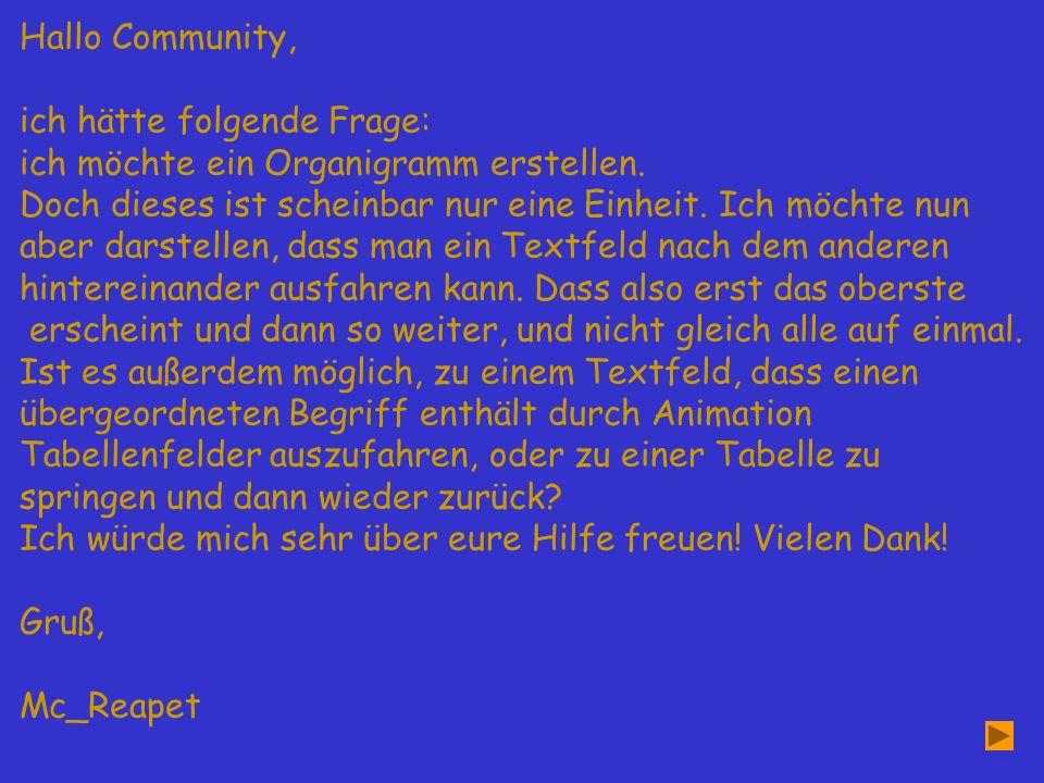 Hallo Community, ich hätte folgende Frage: ich möchte ein Organigramm erstellen.