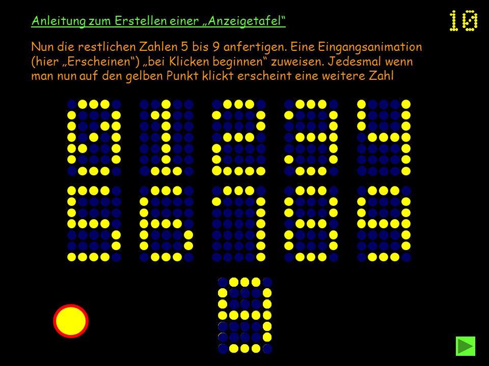 Anleitung zum Erstellen einer Anzeigetafel Nun die restlichen Zahlen 5 bis 9 anfertigen. Eine Eingangsanimation (hier Erscheinen) bei Klicken beginnen