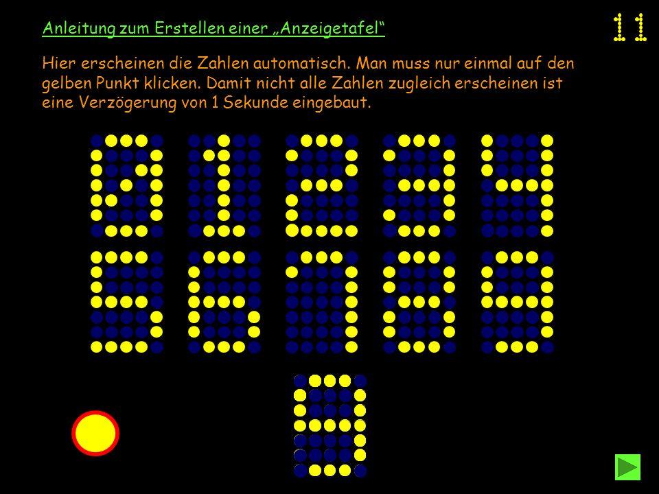 Anleitung zum Erstellen einer Anzeigetafel Hier erscheinen die Zahlen automatisch. Man muss nur einmal auf den gelben Punkt klicken. Damit nicht alle