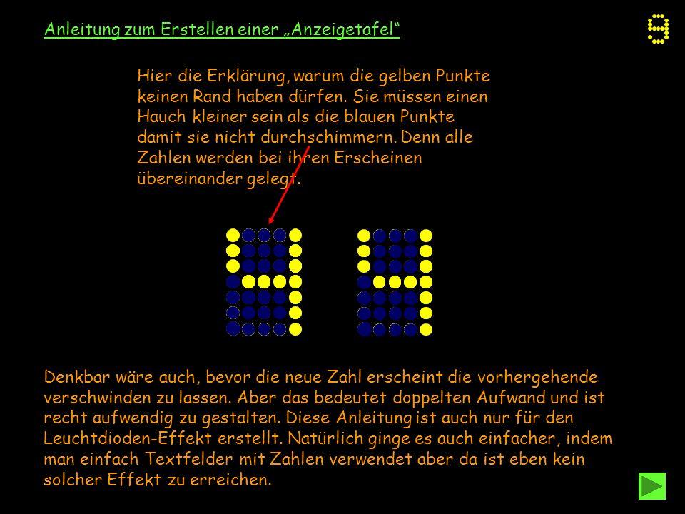 Anleitung zum Erstellen einer Anzeigetafel Hier die Erklärung, warum die gelben Punkte keinen Rand haben dürfen. Sie müssen einen Hauch kleiner sein a