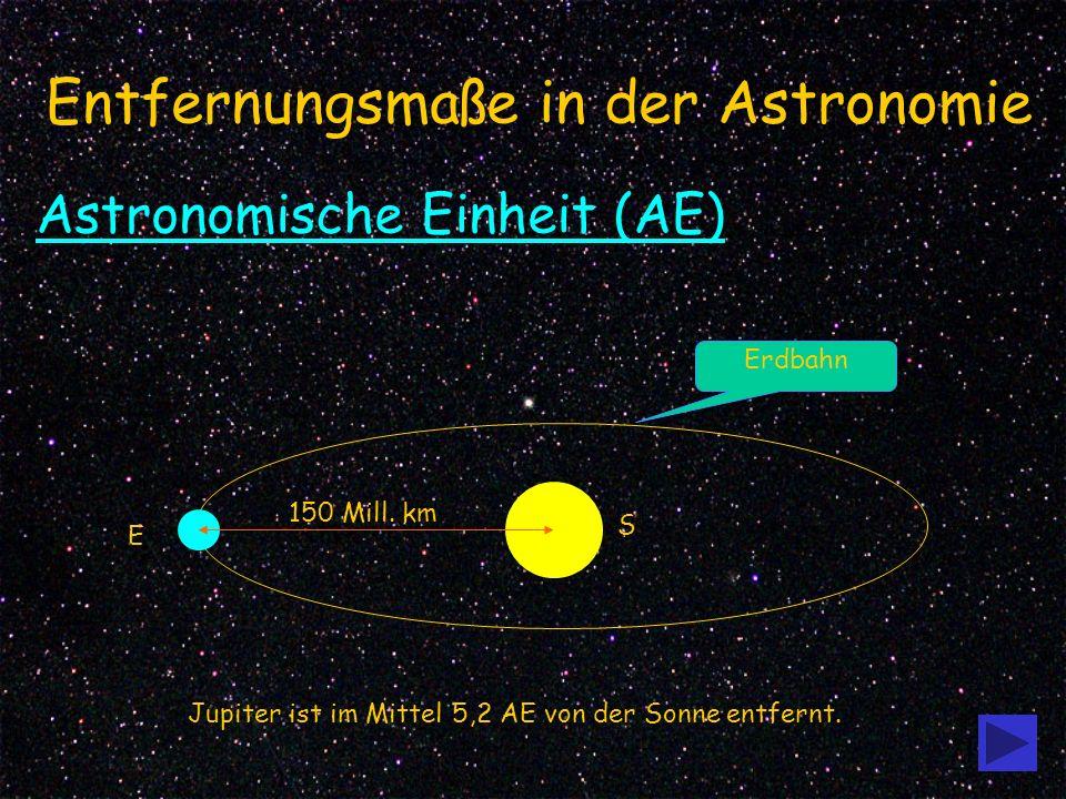 1 Entfernungsmaße in der Astronomie Astronomische Einheit (AE) E S Erdbahn 150 Mill.