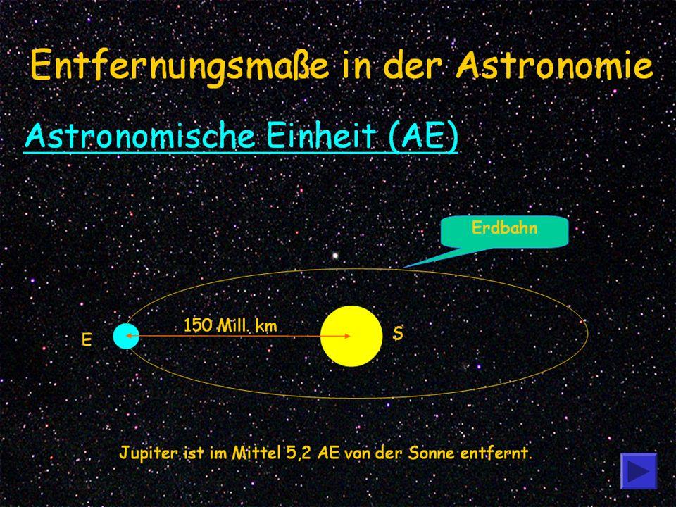 2 Entfernungsmaße in der Astronomie 3,26 Lichtjahre = 3,1x10 12 km oder 206.256 AE 150 Mill.