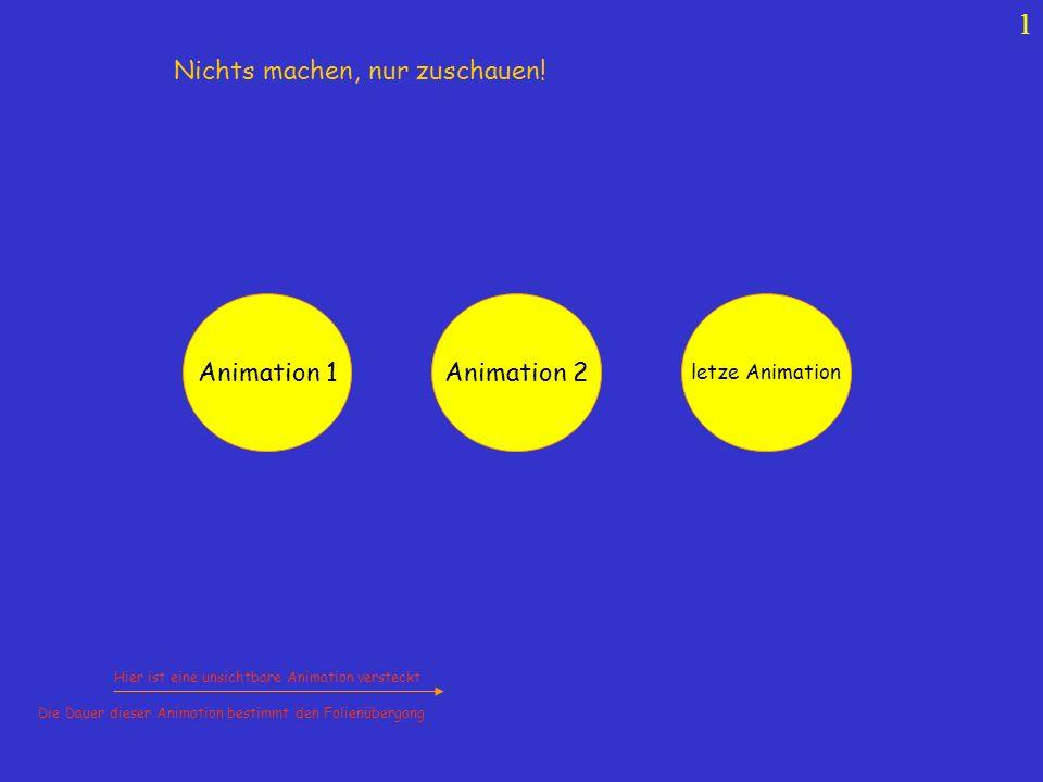 1 Animation 1 Animation 2 letze Animation Hier ist eine unsichtbare Animation versteckt Die Dauer dieser Animation bestimmt den Folienübergang Nichts machen, nur zuschauen!