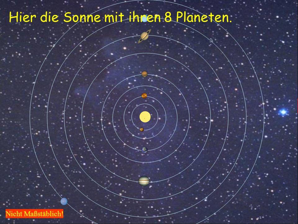 Hier ein Blick auf die Kante der Milchstraße, so in etwa könnte es aussehen. Sonnensystem 16000 Lichtjahre Hier die Sonne mit ihren 8 Planeten. Nicht