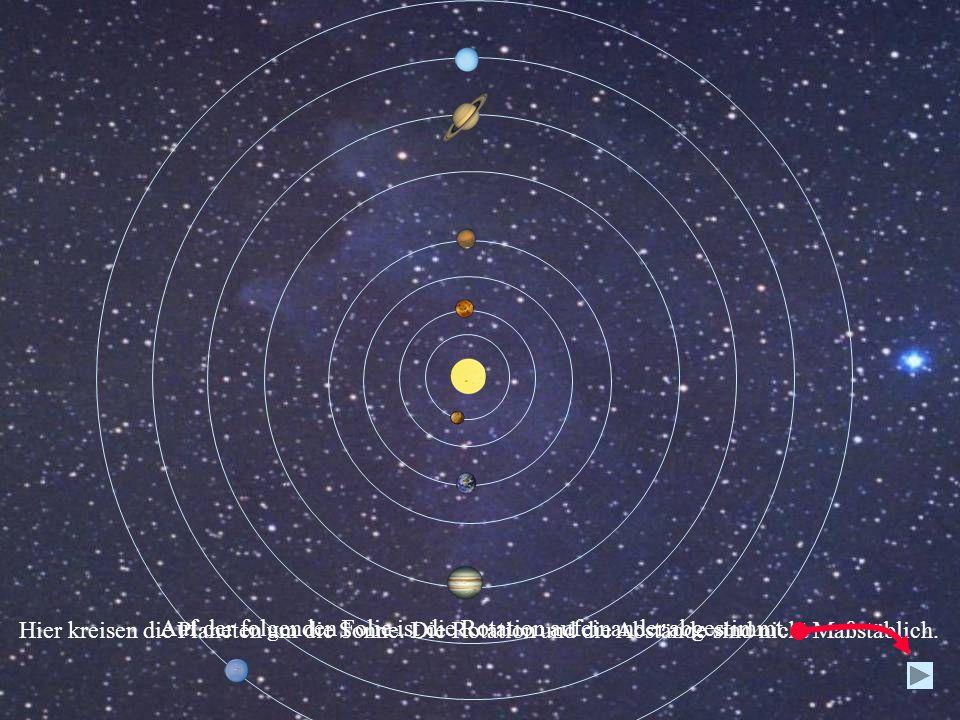Hier kreisen die Planeten um die Sonne. Die Rotation und die Abstände sind nicht Maßstäblich. Auf der folgenden Folie ist die Rotation aufeinander abg
