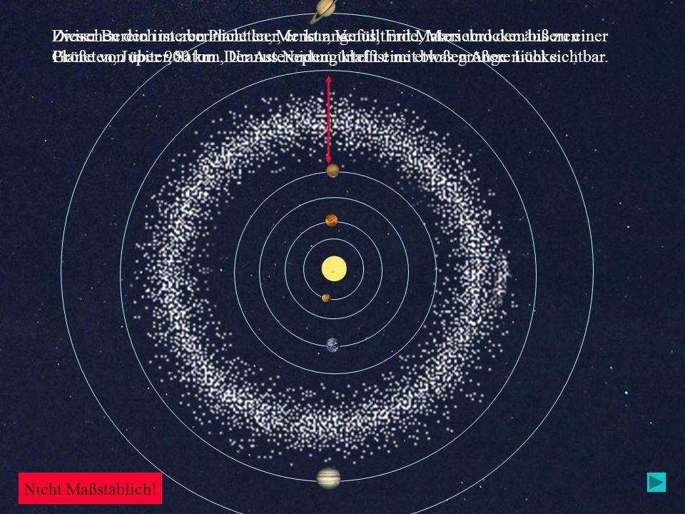Zwischen den inneren Planeten, Merkur, Venus, Erde, Mars und den äußeren Planeten, Jupiter, Saturn, Uranus Neptun, klafft eine etwas größere Lücke. Di