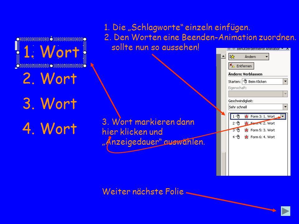 1. Wort 2. Wort 3. Wort 4. Wort 1. Die Schlagworte einzeln einfügen. 2. Den Worten eine Beenden-Animation zuordnen. sollte nun so aussehen! 3. Wort ma