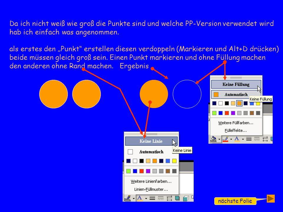 nächste Folie Da ich nicht weiß wie groß die Punkte sind und welche PP-Version verwendet wird hab ich einfach was angenommen.
