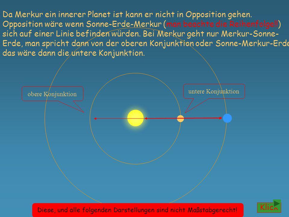 O S W größte westliche Elongationgrößte östliche Elongation Merkur kann sich, von der Erde aus gesehen, nicht weiter als 28° rechts und links von der Sonne entfernen.