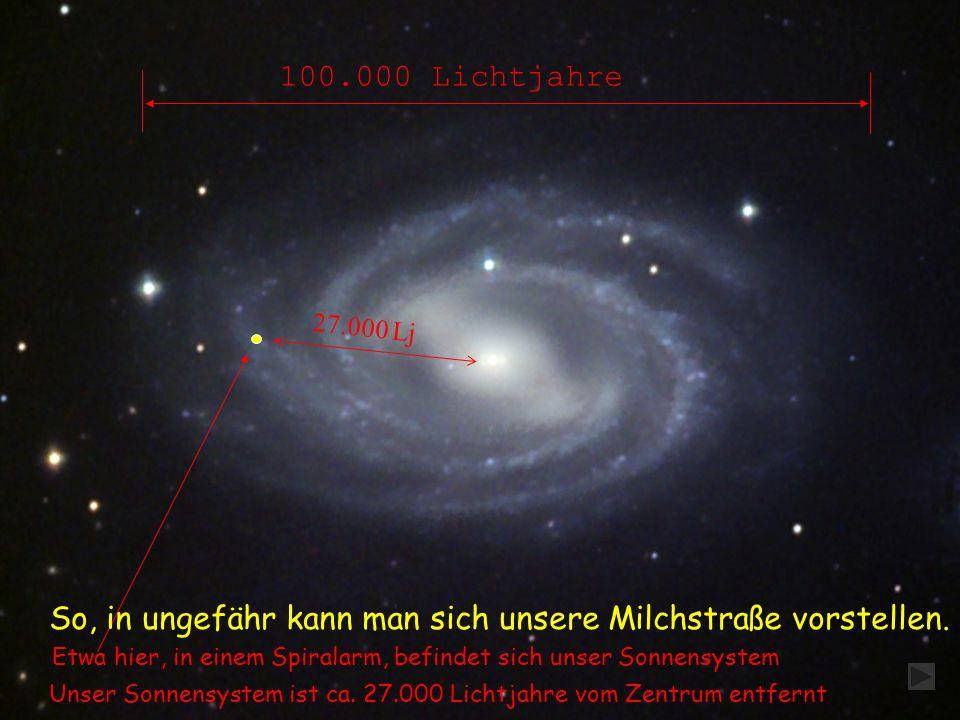 Etwa hier, in einem Spiralarm, befindet sich unser Sonnensystem 100.000 Lichtjahre So, in ungefähr kann man sich unsere Milchstraße vorstellen.