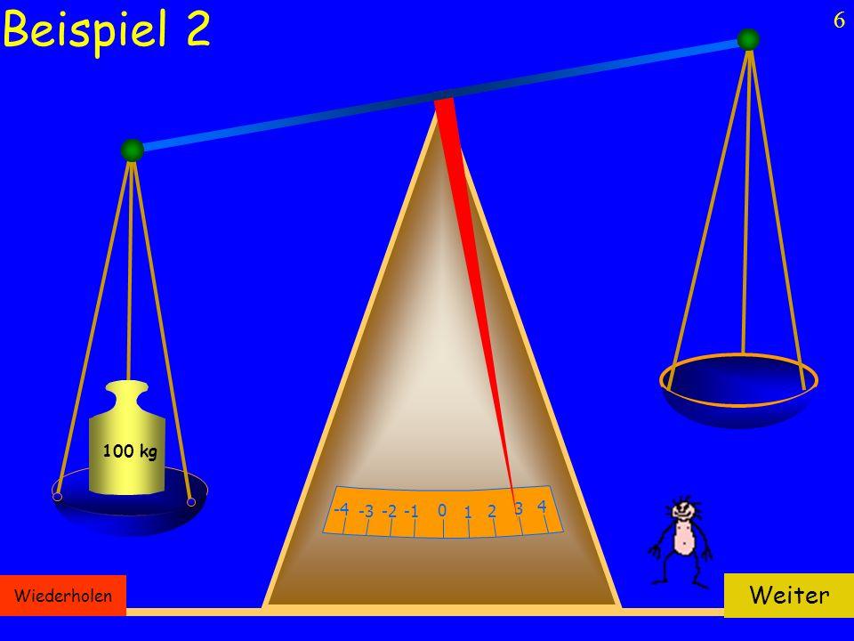 6 100 kg 0 1 -2 2 -3 3 -4 4 Wiederholen Weiter Beispiel 2