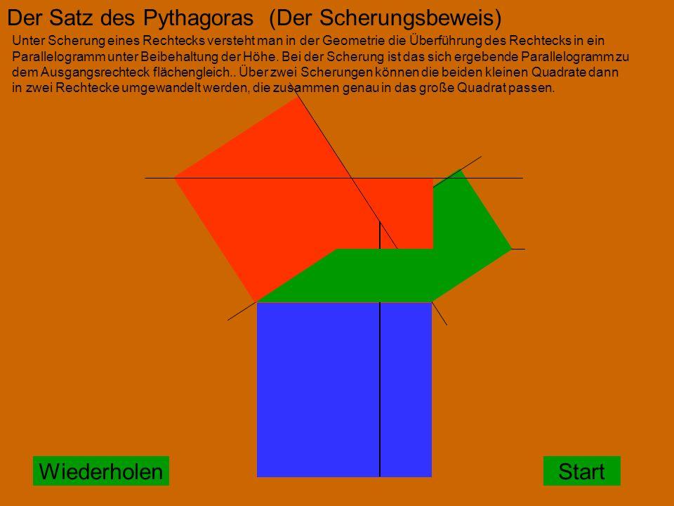 StartWiederholen Der Satz des Pythagoras (Der Scherungsbeweis) Unter Scherung eines Rechtecks versteht man in der Geometrie die Überführung des Rechtecks in ein Parallelogramm unter Beibehaltung der Höhe.