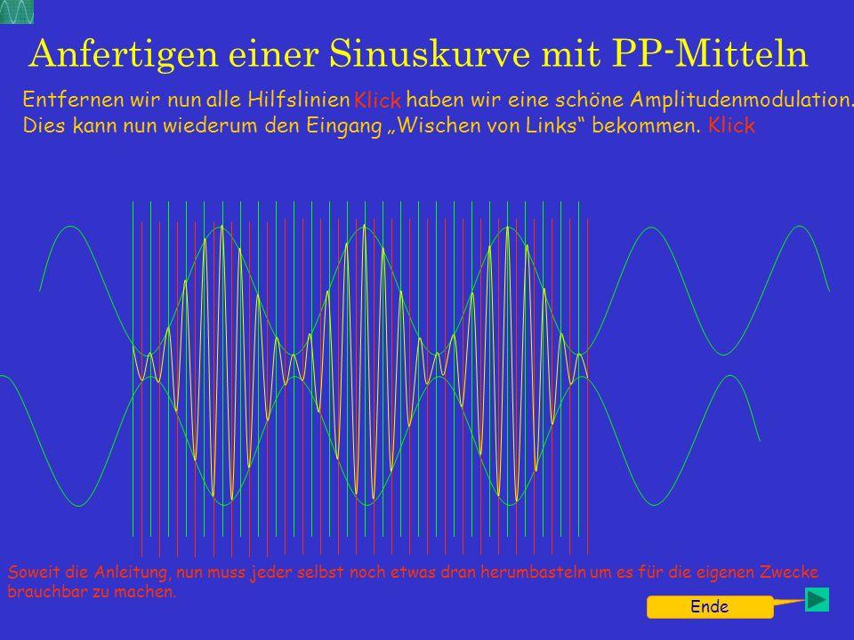 Anfertigen einer Sinuskurve mit PP-Mitteln Entfernen wir nun alle Hilfslinien haben wir eine schöne Amplitudenmodulation. Dies kann nun wiederum den E