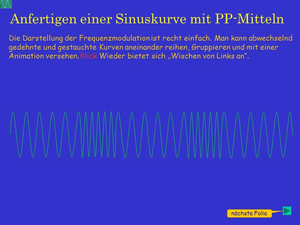 Anfertigen einer Sinuskurve mit PP-Mitteln Die Darstellung der Frequenzmodulation ist recht einfach. Man kann abwechselnd gedehnte und gestauchte Kurv