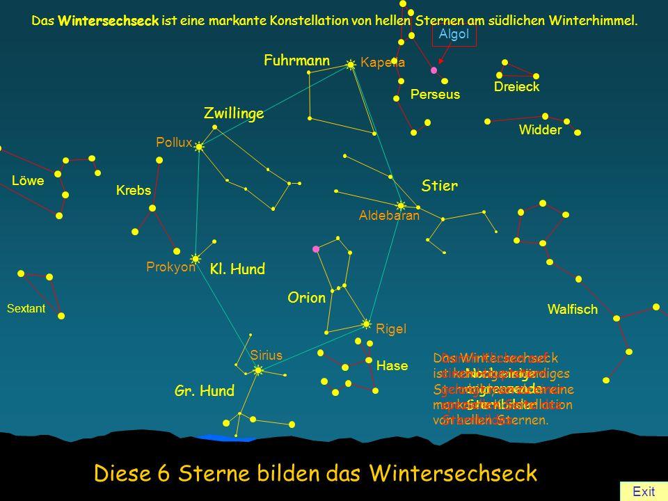 Pollux Prokyon Sirius Aldebaran Kapella Rigel Gr. Hund Kl. Hund Zwillinge Fuhrmann Stier Orion Sextant Löwe Krebs Algol Perseus Dreieck Widder Walfisc