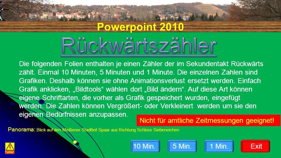 Powerpoint 2010 Funker Die folgenden Folien enthalten je einen Zähler der im Sekundentakt Rückwärts zählt.
