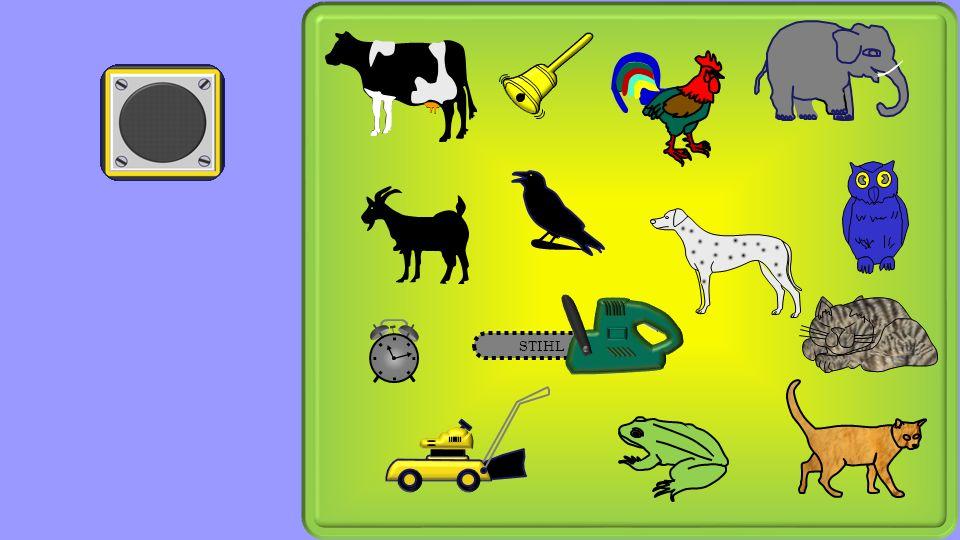 Powerpoint 2010 Geräuschespiel zum Spiel Funker Die folgende Seite zeigt Gegenstände und Tiere.