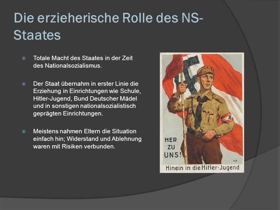 Die erzieherische Rolle des NS- Staates Totale Macht des Staates in der Zeit des Nationalsozialismus. Der Staat übernahm in erster Linie die Erziehung
