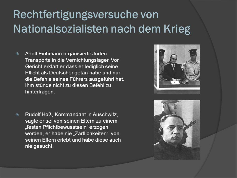 Resümee Mangelnde Bildung, eine Erziehung in der zwar Willenskraft jedoch keine Empathie gelehrt wurde, eine Kultur der Unterordnung und der Gehorsamkeit gegenüber Autoritäten machten den Erfolg der NS-Erziehung möglich.