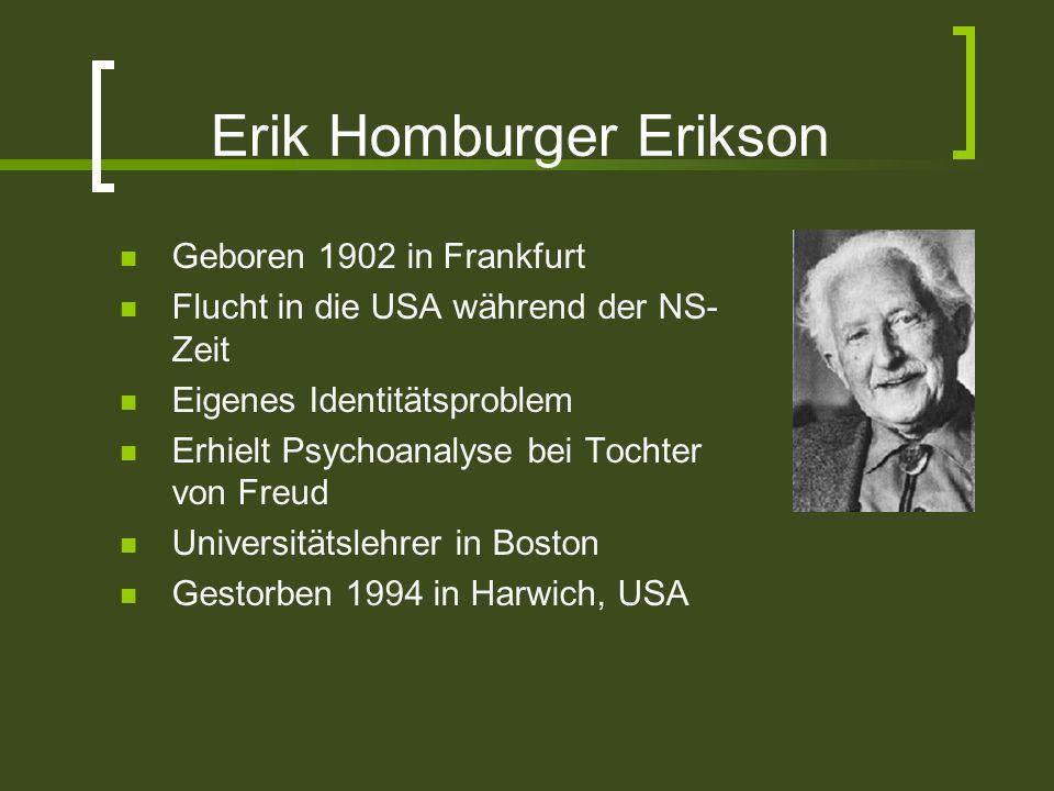 Erik Homburger Erikson Geboren 1902 in Frankfurt Flucht in die USA während der NS- Zeit Eigenes Identitätsproblem Erhielt Psychoanalyse bei Tochter vo