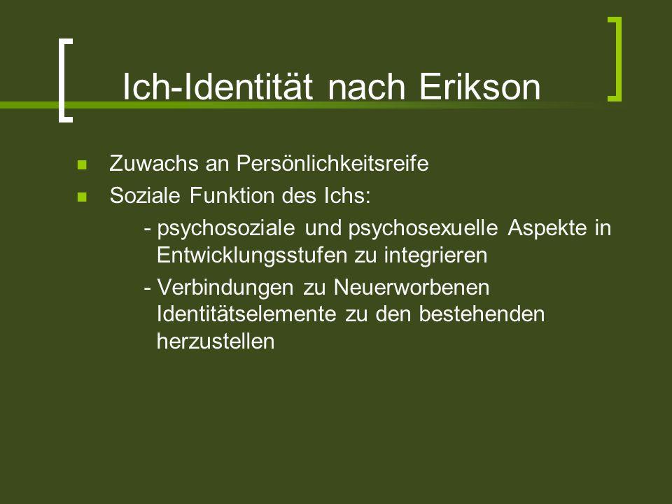 Ich-Identität nach Erikson Zuwachs an Persönlichkeitsreife Soziale Funktion des Ichs: - psychosoziale und psychosexuelle Aspekte in Entwicklungsstufen