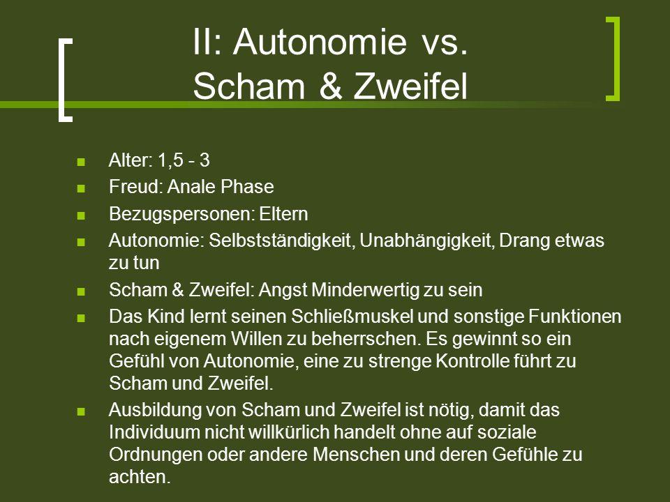 II: Autonomie vs. Scham & Zweifel Alter: 1,5 - 3 Freud: Anale Phase Bezugspersonen: Eltern Autonomie: Selbstständigkeit, Unabhängigkeit, Drang etwas z