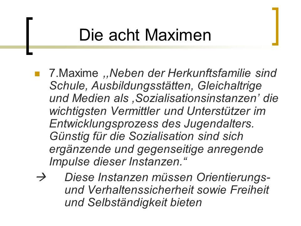 Die acht Maximen 7.Maxime,,Neben der Herkunftsfamilie sind Schule, Ausbildungsstätten, Gleichaltrige und Medien als,Sozialisationsinstanzen die wichtigsten Vermittler und Unterstützer im Entwicklungsprozess des Jugendalters.