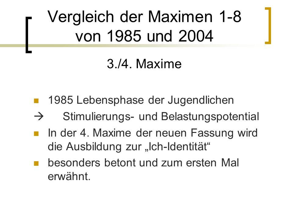 1985 Lebensphase der Jugendlichen Stimulierungs- und Belastungspotential In der 4.