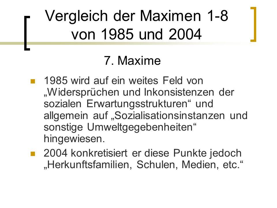 1985 wird auf ein weites Feld von Widersprüchen und Inkonsistenzen der sozialen Erwartungsstrukturen und allgemein auf Sozialisationsinstanzen und sonstige Umweltgegebenheiten hingewiesen.
